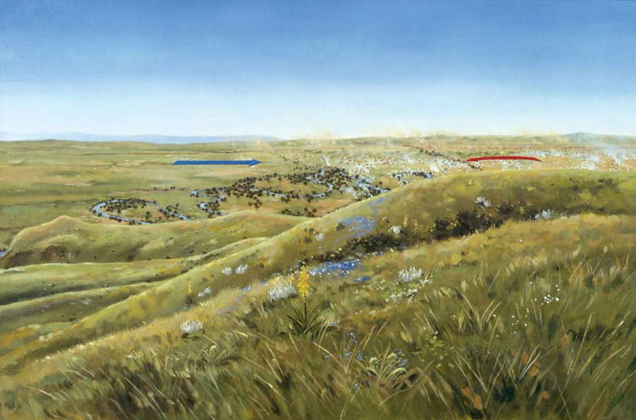 Custers Last Stand - Us map with little bighorn river